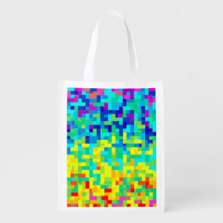 Seamless Pixel Pattern Background as an Artistic Reusable Grocery Bag