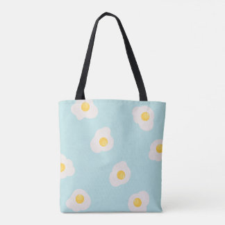 seamless print of scrambled eggs tote bag