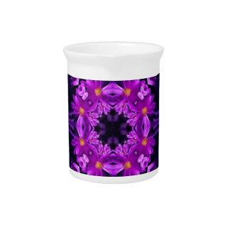 Seamless purple flowers beverage pitcher