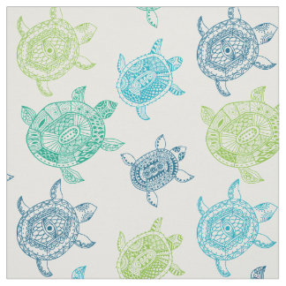 Seamless Sea Turtles Pattern Fabric