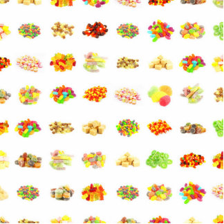 Seamless Sweets and Candy Pattern Background Photo Sculpture Badge