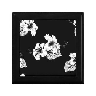 Seamless Tropical Hibiscus Flowers Background Gift Box