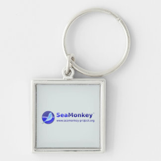 SeaMonkey Project - Horizontal Logo Silver-Colored Square Key Ring