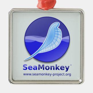 SeaMonkey Project - Vertical Logo Silver-Colored Square Decoration