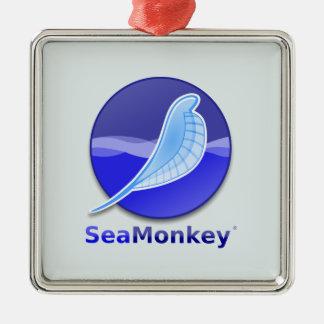 SeaMonkey Text Logo Silver-Colored Square Decoration