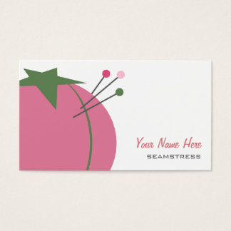 Seamstress Business Card - Pink Pin Cushion