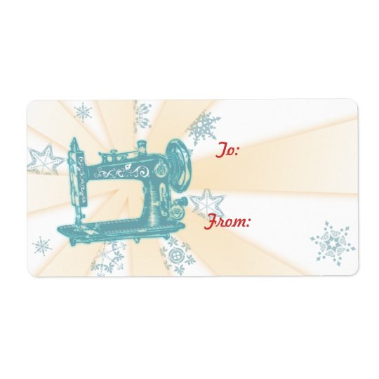 Seamstress vintage sewing machine christmas label shipping label