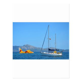 Seaplane and yacht. postcard