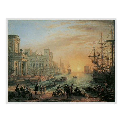 Seaport at Sunset, 1639 Poster