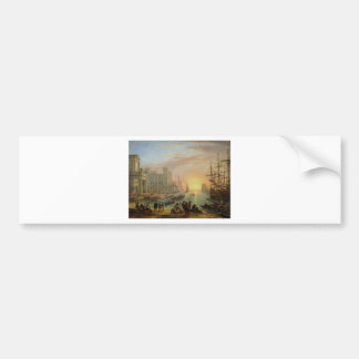 Seaport at Sunset by Claude Lorrain Bumper Sticker