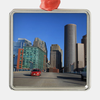 Seaport Blvd bridge and Boston skyline.Boston is Metal Ornament