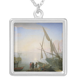 Seaport with sunset silver plated necklace