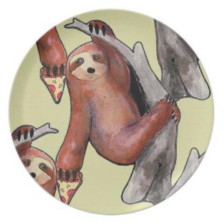 seapunk vaporwave grunge kawaii cute sloth pizza plate