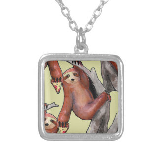 seapunk vaporwave grunge kawaii cute sloth pizza silver plated necklace