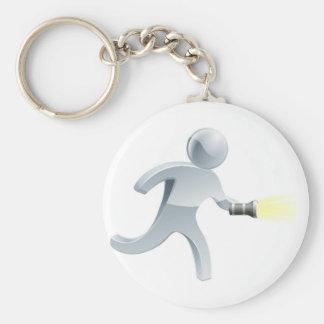Searching flashlight man key ring