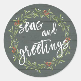 Seas and Greetings Nautical Christmas Classic Round Sticker