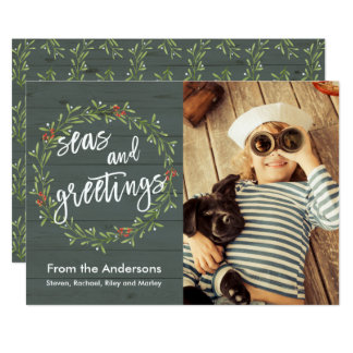 Seas and Greetings Nautical Christmas Photo Card