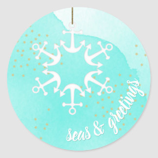 Seas & Greetings Anchor Snowflake Watercolor Classic Round Sticker