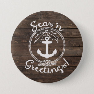 Seas 'n Greetings | Wood Planks 7.5 Cm Round Badge
