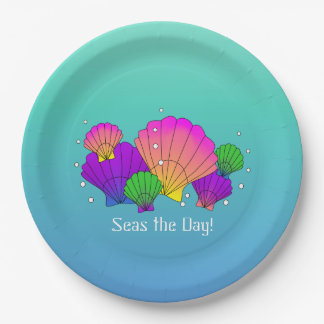 Seas the Day! Caribbean Seashells with Bubbles Paper Plate