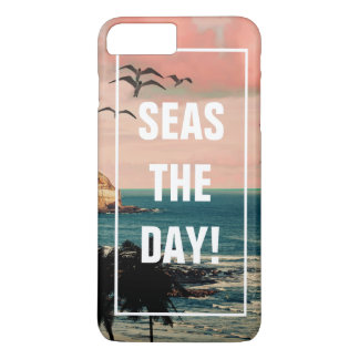 Seas the Day | Comical Beach Quote Tropical Ocean iPhone 8 Plus/7 Plus Case