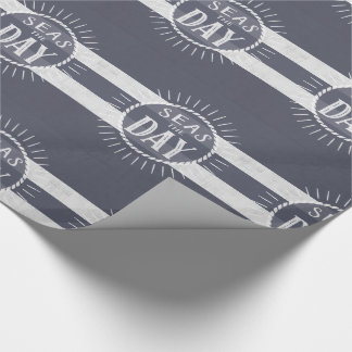 Seas the Day Nautical Denim Blue and White Wash Wrapping Paper