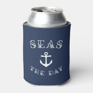 Seas the Day   Personalized Beach House or Boat Can Cooler
