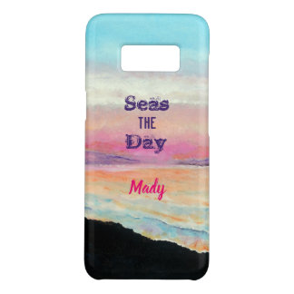 Seas The Day Quote Soft Pinks and Blues Sunset Case-Mate Samsung Galaxy S8 Case