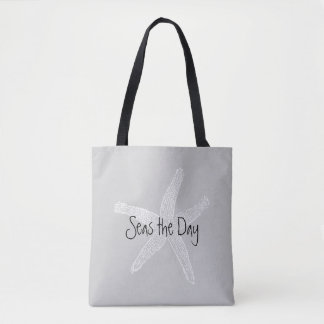 Seas the Day Vintage Starfish Illustration Tote Bag