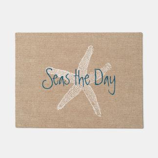 Seas the Day Vintage Starfish on Burlap Look Doormat
