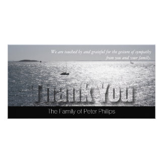 Seascape 2 Modern Sympathy Thank You Customized Photo Card
