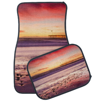 Seascape and pier at sunset, CA Car Mat