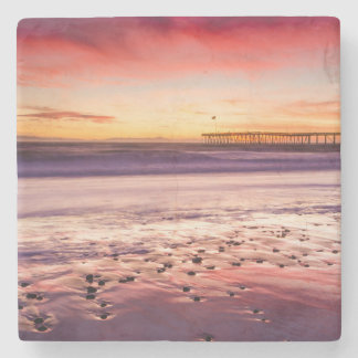 Seascape and pier at sunset, CA Stone Coaster