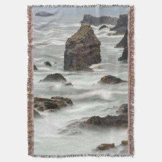 Seascape and sea stacks, Shetland Throw Blanket