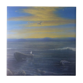 Seascape and Seagulls in Sunset by Neal Cronic Tile