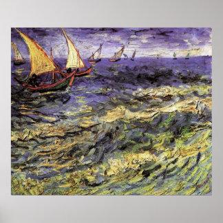 Seascape at Saintes-Maries by Vincent van Gogh Poster