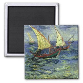 Seascape at Saintes Maries by Vincent van Gogh Square Magnet