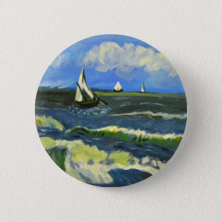 Seascape at Saintes-Maries, Van Gogh 6 Cm Round Badge