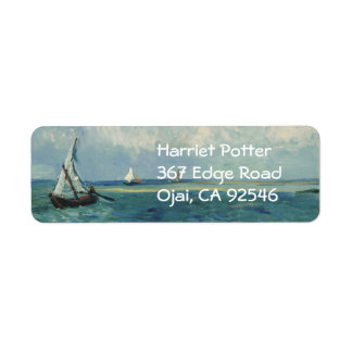 Seascape at Saintes-Maries Van Gogh Fine Art Return Address Label