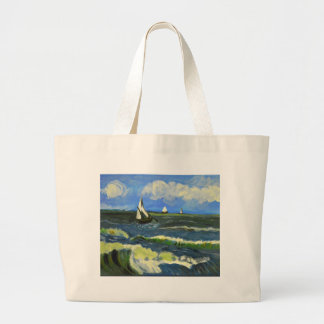 Seascape at Saintes-Maries, Van Gogh Large Tote Bag