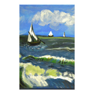 Seascape at Saintes-Maries, Van Gogh Personalized Stationery