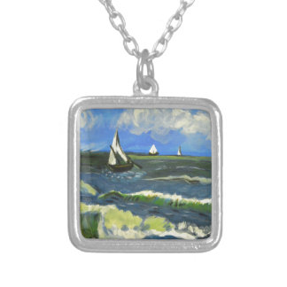 Seascape at Saintes-Maries, Van Gogh Silver Plated Necklace