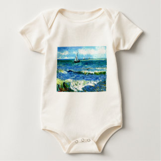 Seascape at Saintes-Maries, Vincent Van Gogh Baby Bodysuit