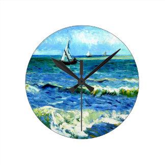 Seascape at Saintes-Maries, Vincent Van Gogh Clock