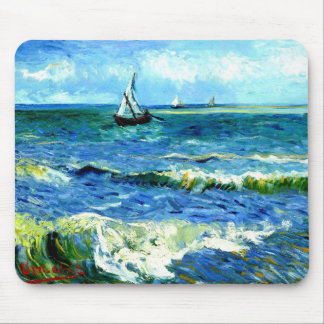 Seascape at Saintes-Maries, Vincent Van Gogh Mouse Pad