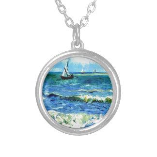 Seascape at Saintes-Maries, Vincent Van Gogh Silver Plated Necklace
