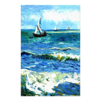 Seascape at Saintes-Maries, Vincent Van Gogh Stationery