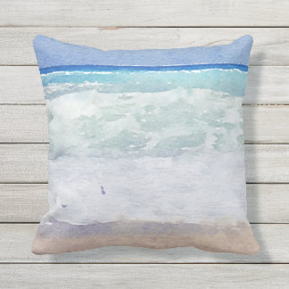 Seascape Beach Design Watercolor Outdoor Cushion