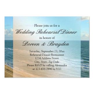 Seascape Blue and Brown Ocean Beach Wedding 11 Cm X 16 Cm Invitation Card