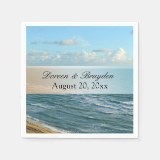 Seascape Blue and Brown Ocean Beach Wedding Disposable Napkins